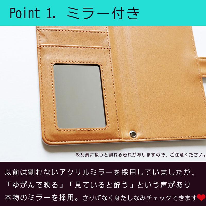 【鏡付き手帳型】四角ドット柄 ブルー