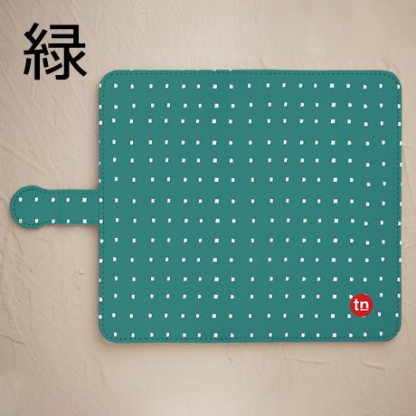 【鏡付き手帳型】四角ドット柄 グリーン