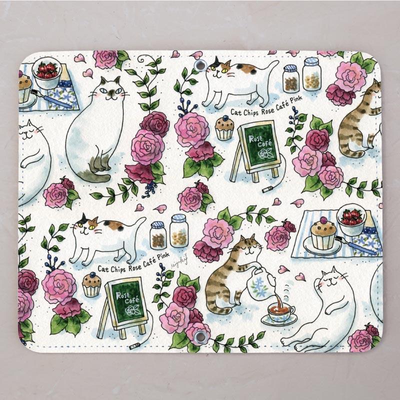 【ベルトなし手帳型】Rose cafe pink