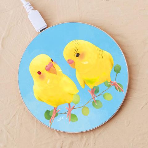 【ワイヤレス充電器】幸せの黄色いセキセイインコ