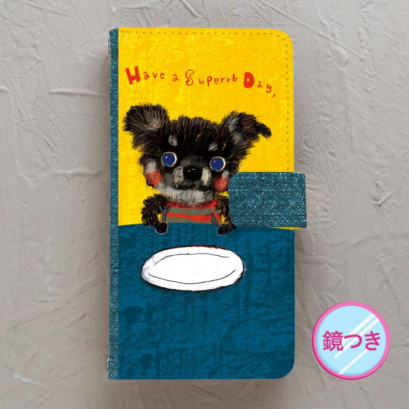 【鏡付き手帳型】Black-chihuahua(チワワ)