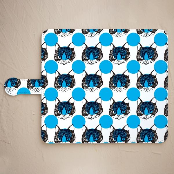 【鏡付き手帳型】舌をしまい忘れた猫-ブルー