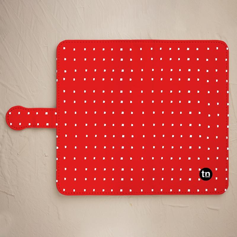 【手帳型】四角ドット柄 レッド