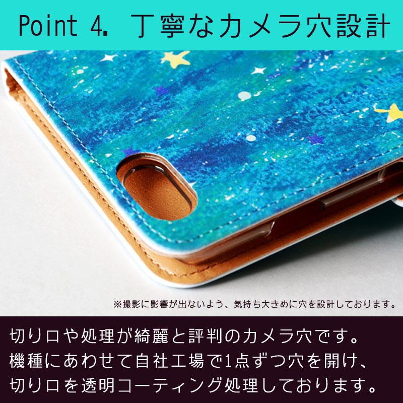 【鏡付き手帳型】パステル-ハート柄1