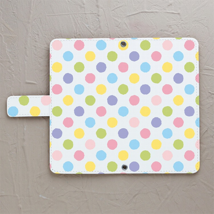 【鏡付き手帳型】polka dots