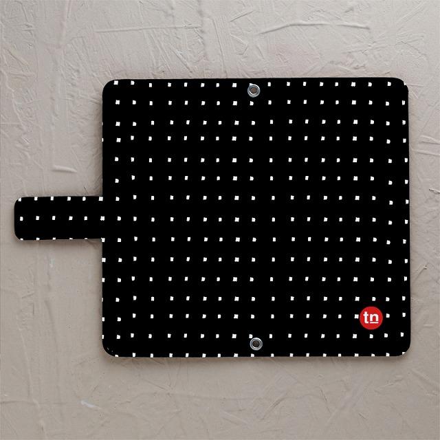 【手帳型】四角ドット柄 ブラック