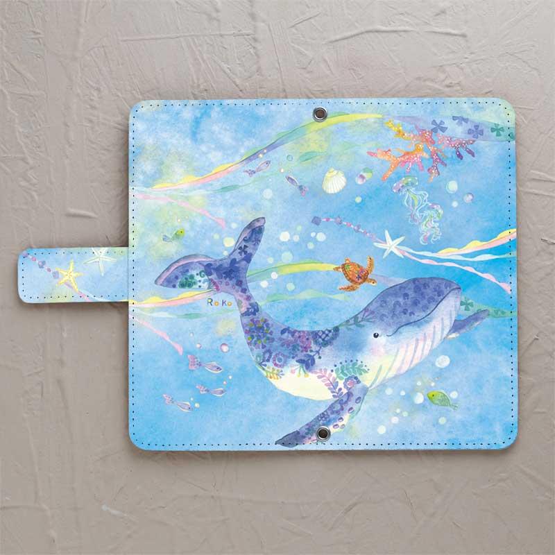 【手帳型】クジラと青い海