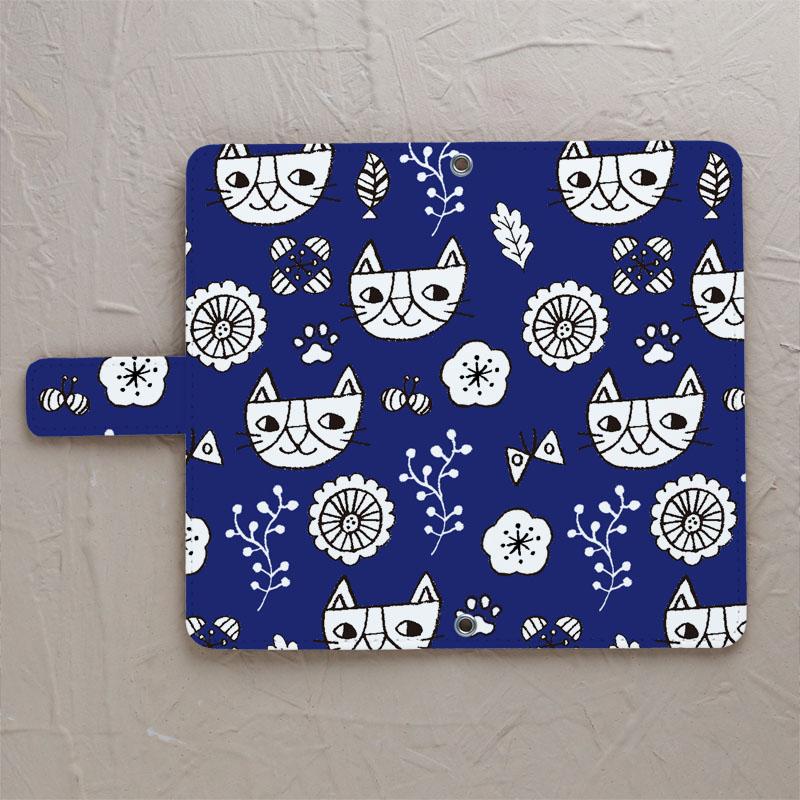 【鏡付き手帳型】猫北欧 ネイビー