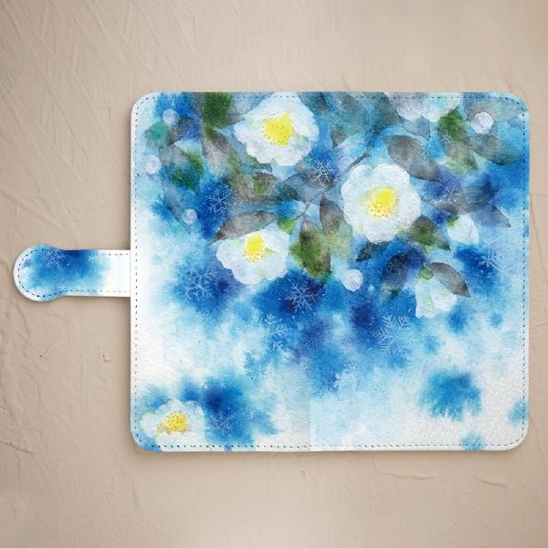 【鏡付き手帳型】雪の白椿