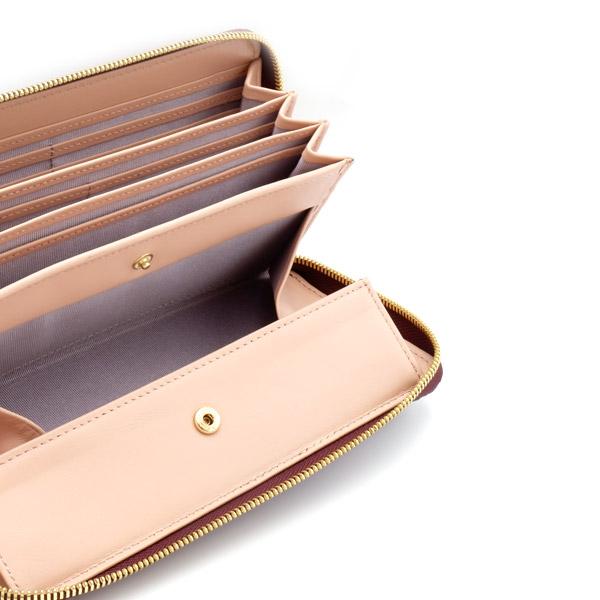 クロコダイルカードケース付きラウンド財布 目地レッド