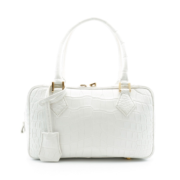 クロコダイル  二本手ハンドバッグ ホワイト