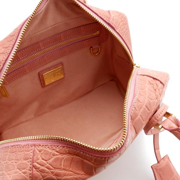 クロコダイル  二本手ハンドバッグ ピンク