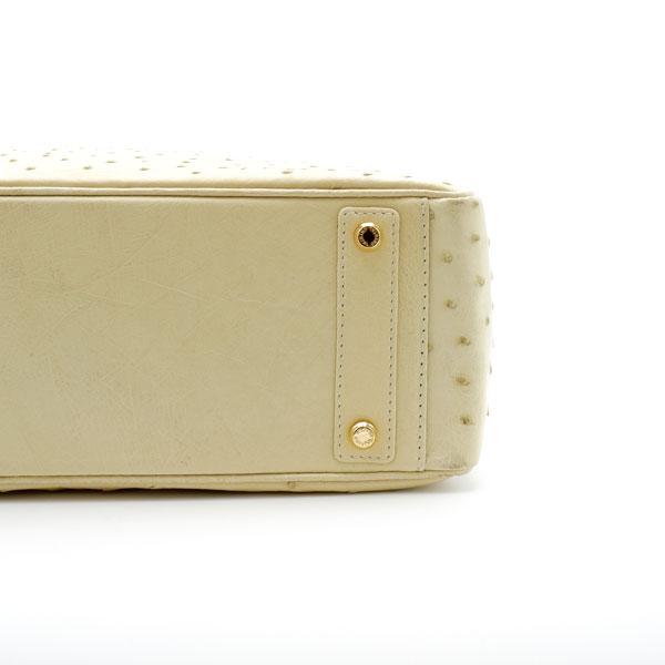 【outlet品】 オーストリッチ スクエアボストンバッグ  サドルホワイト