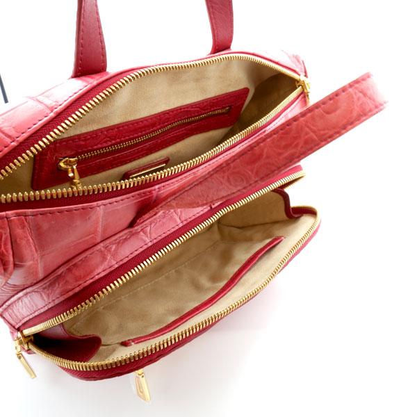 【キャリー品】 クロコダイル フロントポケットバッグ カンパリ