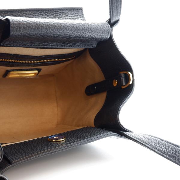 クロコダイル スクエア型ハンドバッグ ブラック