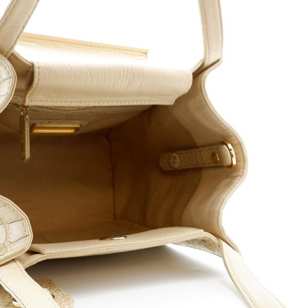 クロコダイル スクエア型ハンドバッグ ベージュ