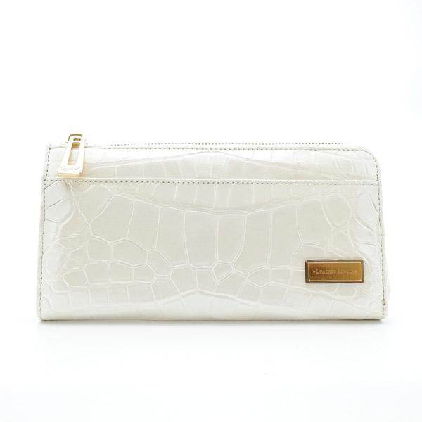 クロコダイルL字型長財布 パールホワイト