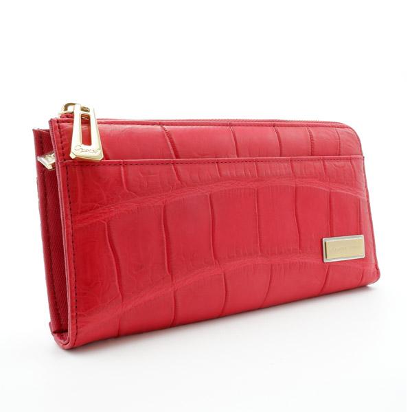 クロコダイルL字型長財布 レッド