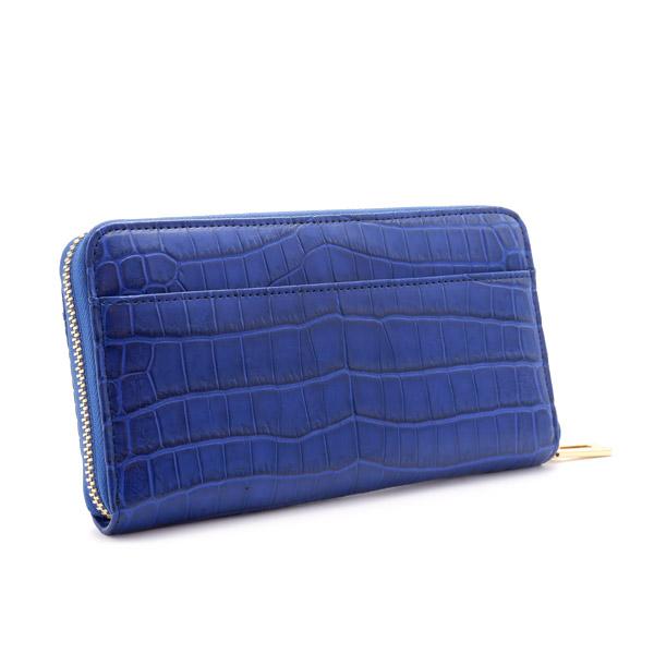 クロコダイルラウンド長財布 ブルー