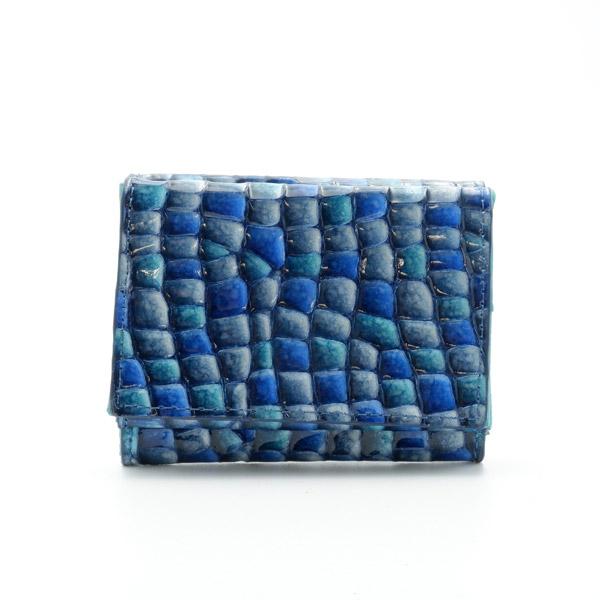 牛革 ステンドミニ財布 ブルー