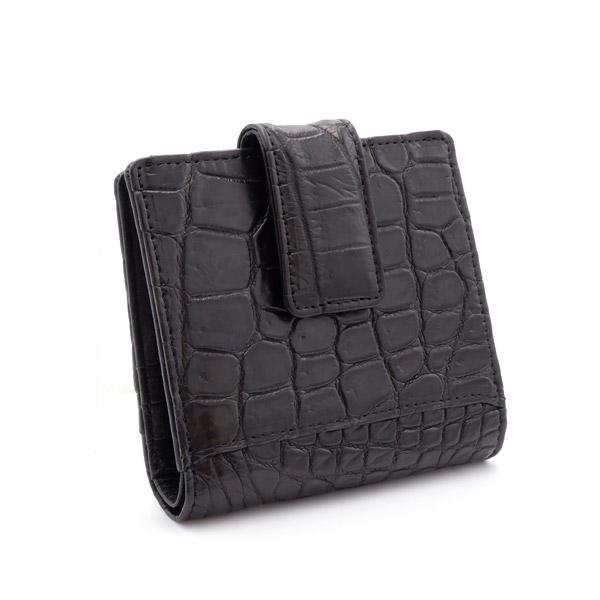 クロコダイル スクエア型二つ折り財布 ブラック
