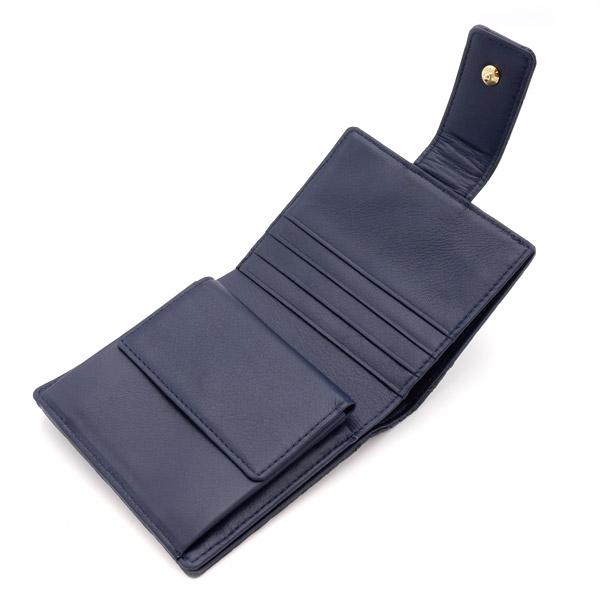 クロコダイル スクエア型二つ折り財布 ネイビー