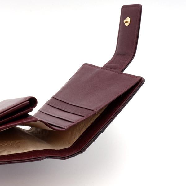 クロコダイル スクエア型二つ折り財布 目地ボルドー