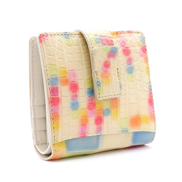 クロコダイル スクエア型二つ折り財布 マーブル