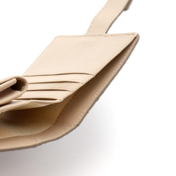クロコダイル スクエア型二つ折り財布 ミンク