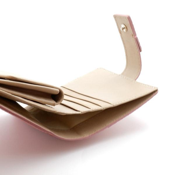 クロコダイル スクエア型二つ折り財布 ピンク