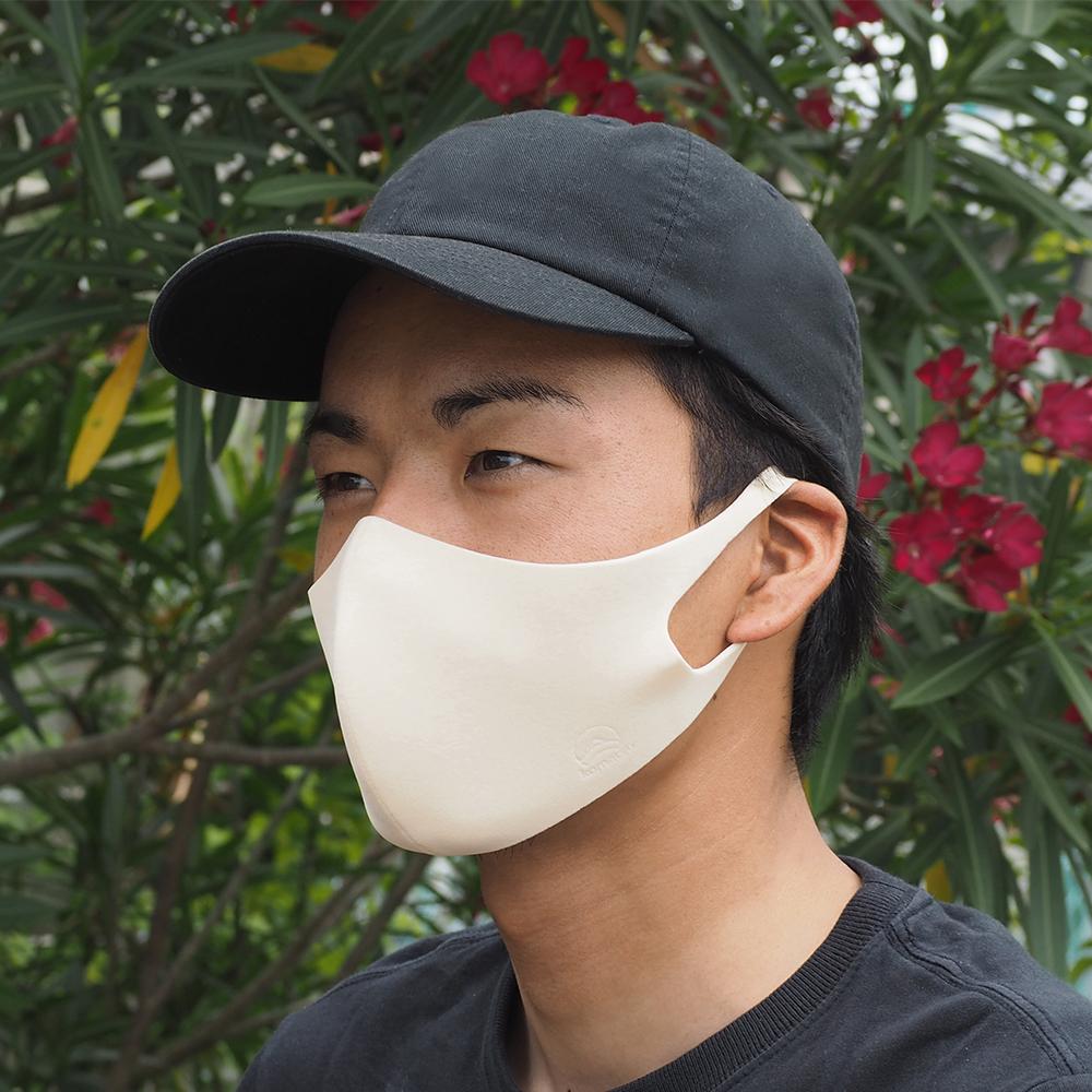 光触媒 抗ウイルス 肌に優しい モイスチャーパフマスク Lサイズ 日本製 [MOISTURE PUFF MASK] 高機能 洗える 耳が痛くない パフ素材 *ゆうパケット*送料無料 *返品・交換不可