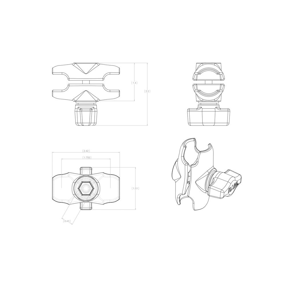 ラムマウント RAM MOUNTS ダブルソケットアーム S(アルミ)/国内正規品 RAM-B201U-A GoPro バイク 自転車 スマホ *送料無料 車 オフロード カー用品 アメ車  ジープ ボート スノーモービル  登山 キャンプ *小型宅配便