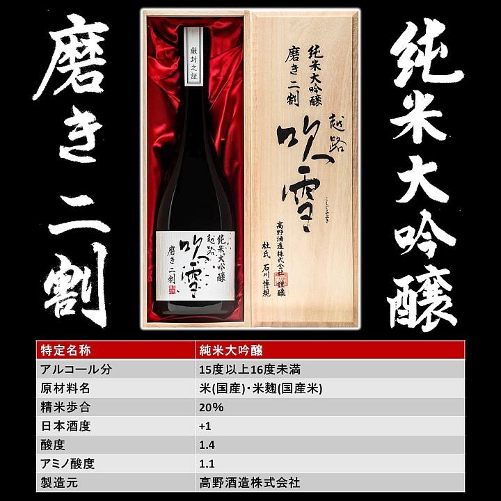 越路吹雪 純米大吟醸 磨き二割 720ml 桐箱入 日本酒 新潟 高野酒造