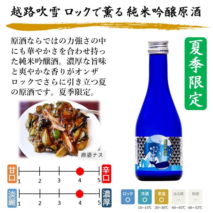 【夏季限定】 越路吹雪 ロックで薫る 純米吟醸原酒 300ml 日本酒 新潟 高野酒造