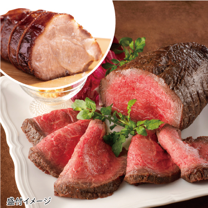 やき豚・黒毛和牛ローストビーフセット(木箱)(Mサイズ)