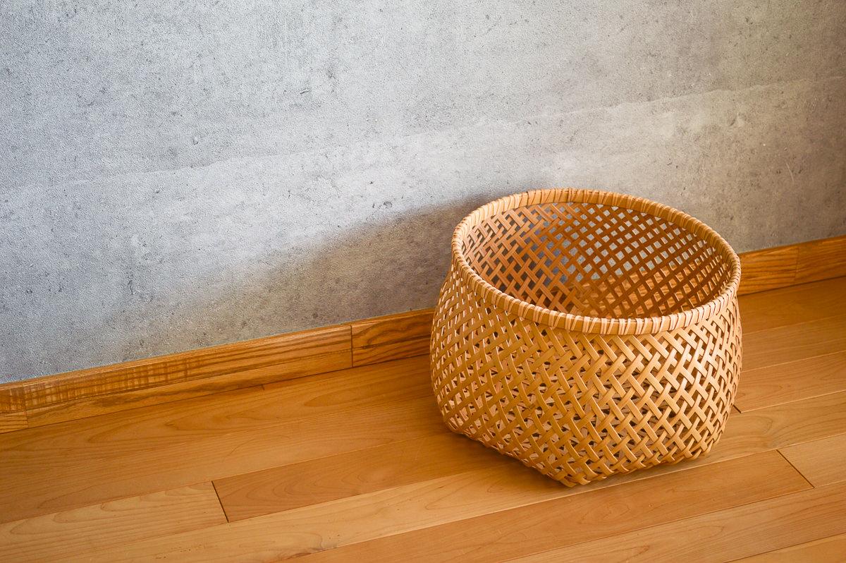 栃木県/真竹(白竹) 麻の葉編み 物入れかご