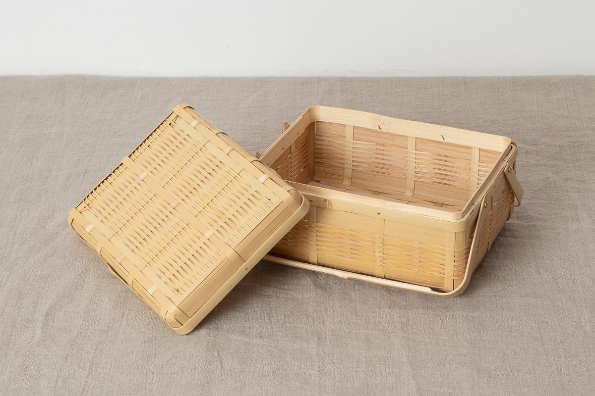 鹿児島県/白竹 手付き弁当かご 中・大・大二段 3サイズ
