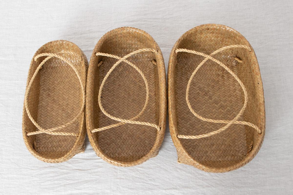 タイ/カチュー(水草) 整理かご 楕円 取手付き S・M・L 3サイズ