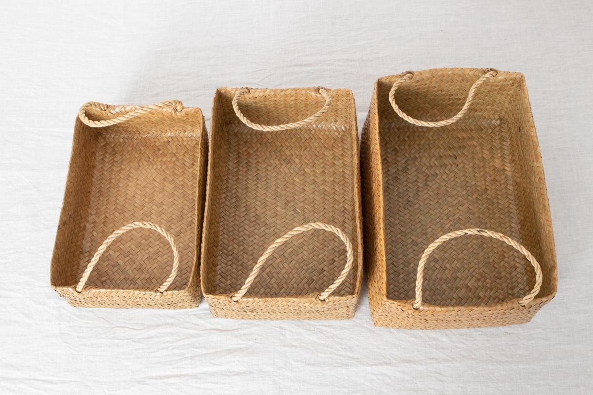 タイ/カチュー(水草) 整理かご 角型 取手付き S・M・L 3サイズ