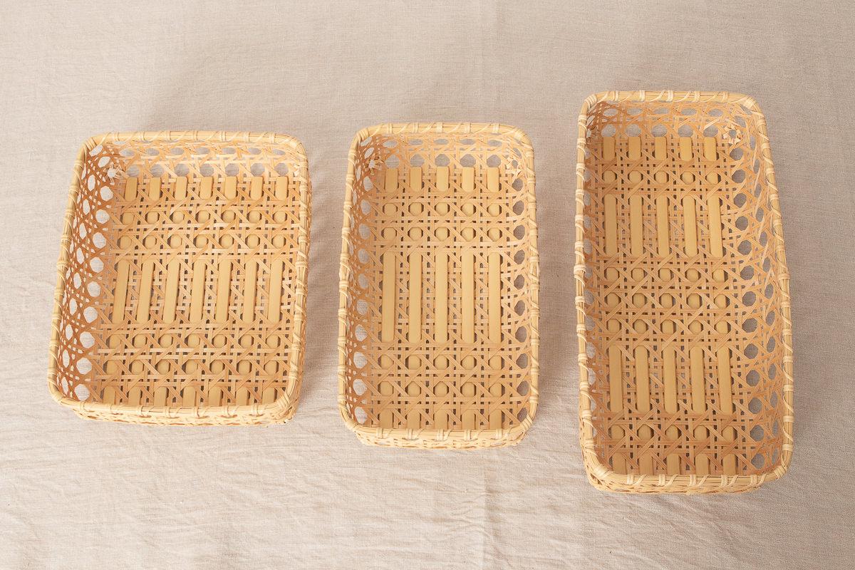 大分県/白竹 八つ目編み整理かご A4サイズ・横幅36cm・横幅45cm 3サイズ
