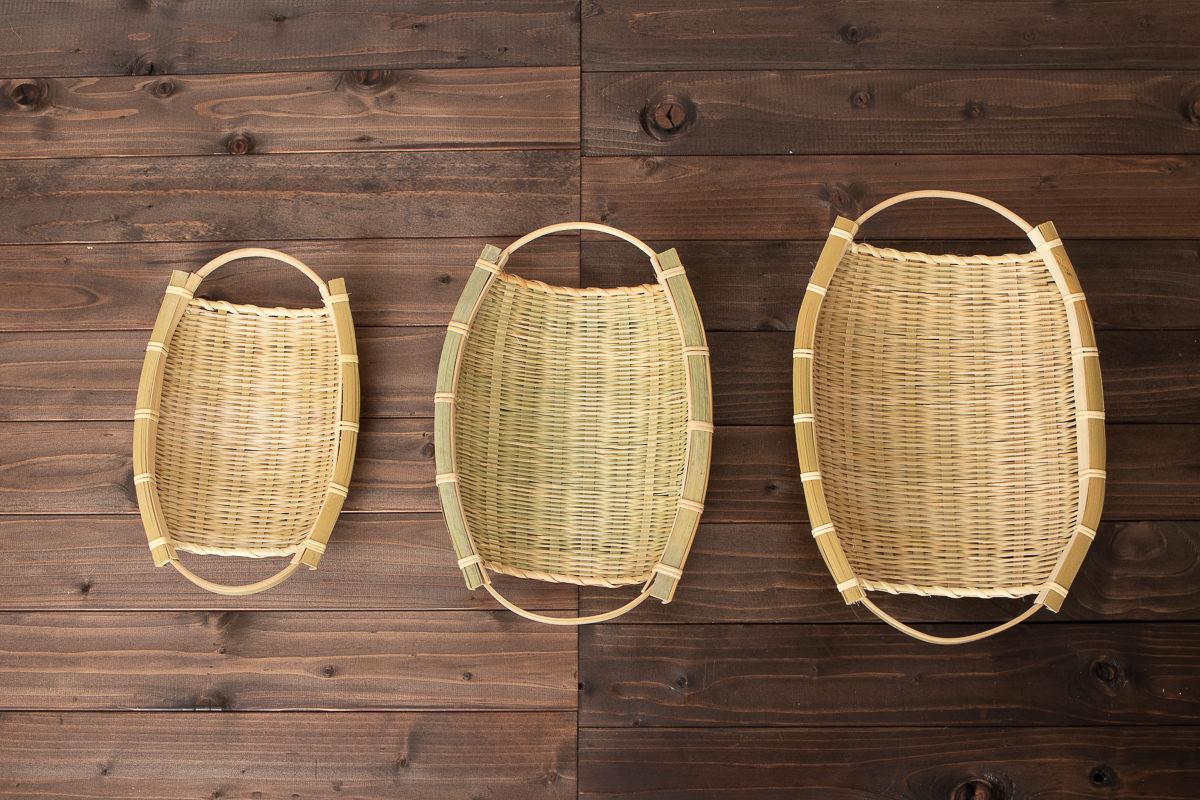 富山県/淡竹(はちく) 手つき楕円ざる 小・中・大 3サイズ