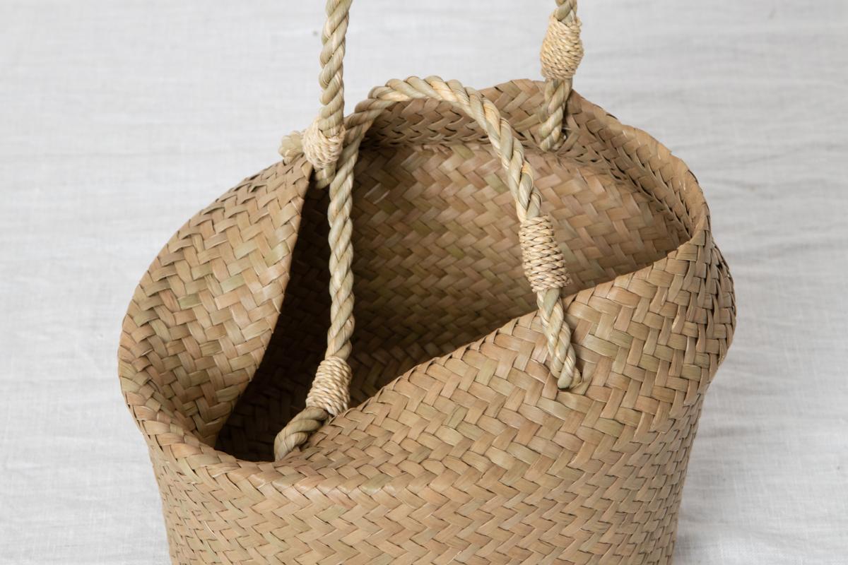 タイ/カチュー(水草) ミニ 丸手提げ 二重編み(折りたたみ式)