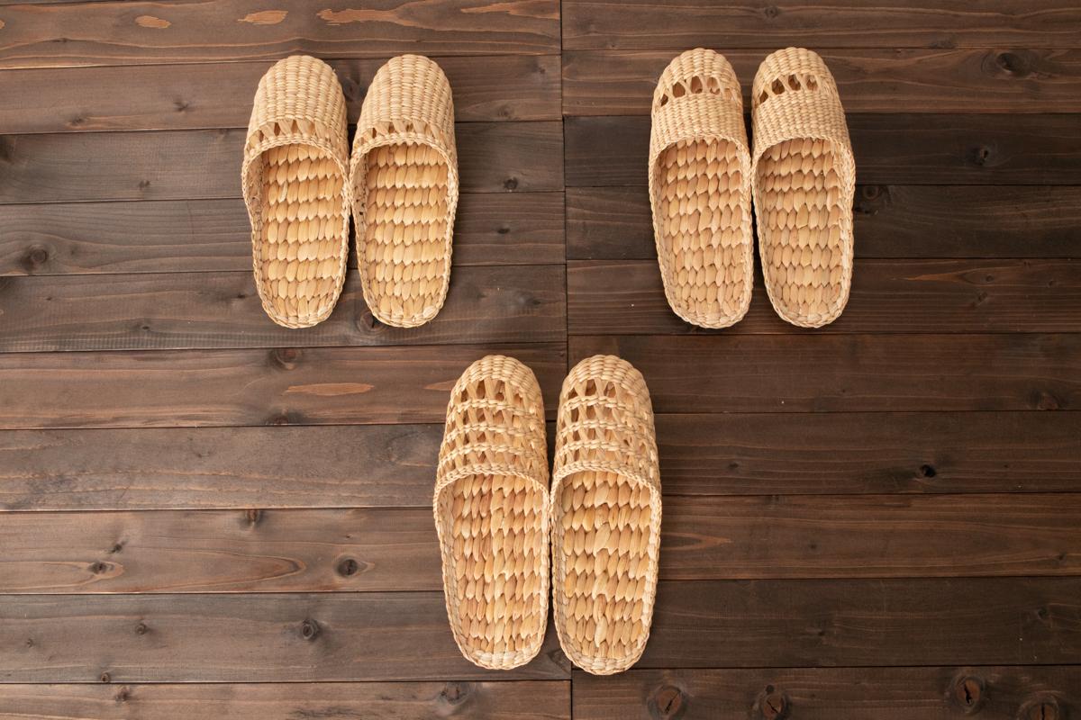 タイ/ウォーターヒヤシンス スリッパ 前すかし編み・中すかし編み・総すかし編み 3種