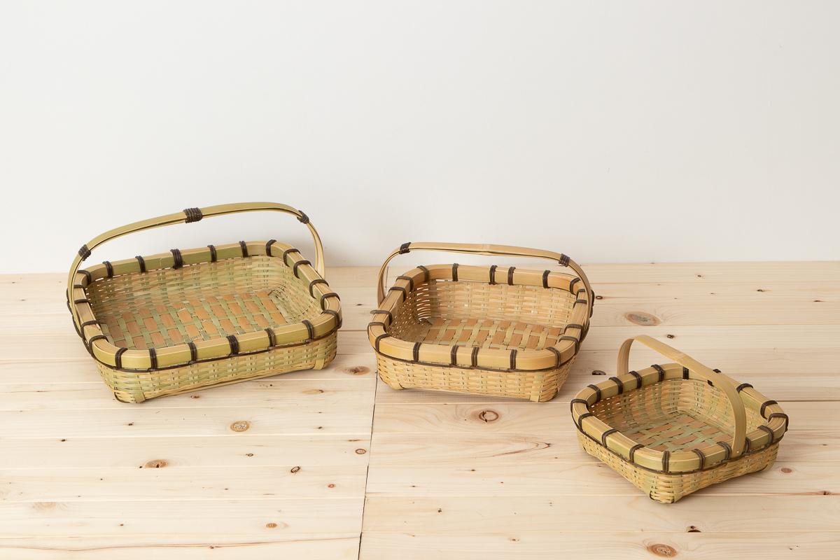 大分県/真竹(青竹) 手つきテーブルバスケット 四角 小・中・大 3サイズ