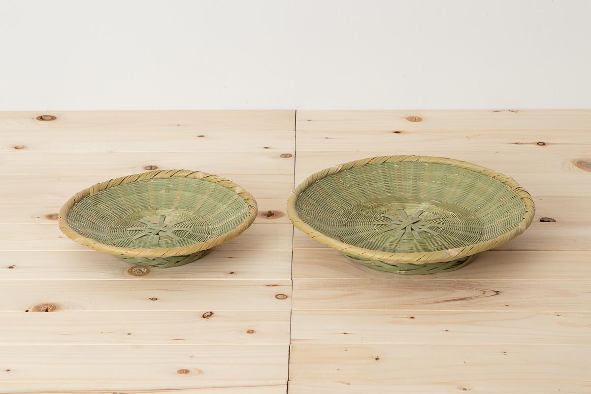 大分県/真竹 菊底編みそばざる 高台付き 七寸・九寸 2サイズ