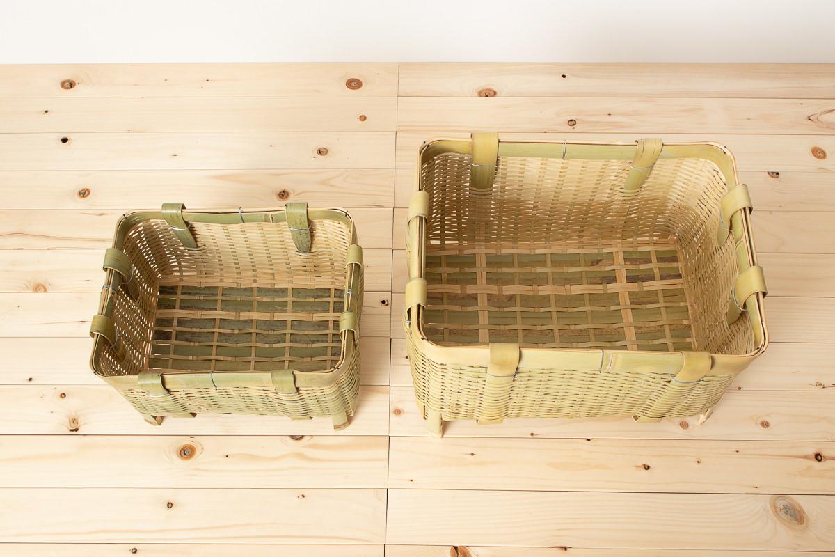 茨城県/真竹 角かご(御用かご)足つき 中・大 2サイズ