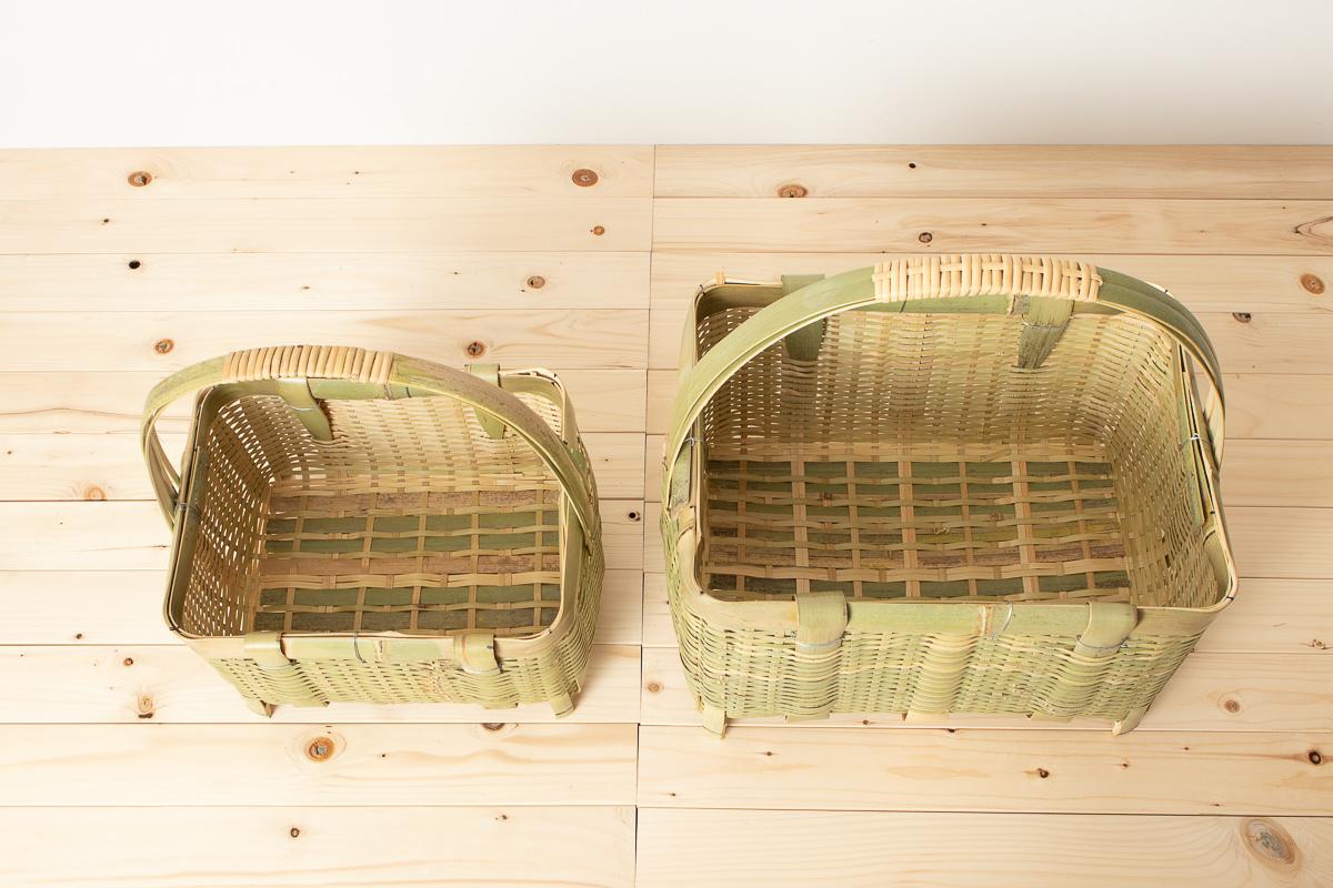 茨城県/真竹 三本手角かご 足つき 中・大 2サイズ