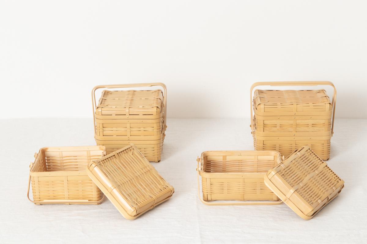 鹿児島県/白竹 手つき弁当かご 小 四角・長型/一段・二段 4種