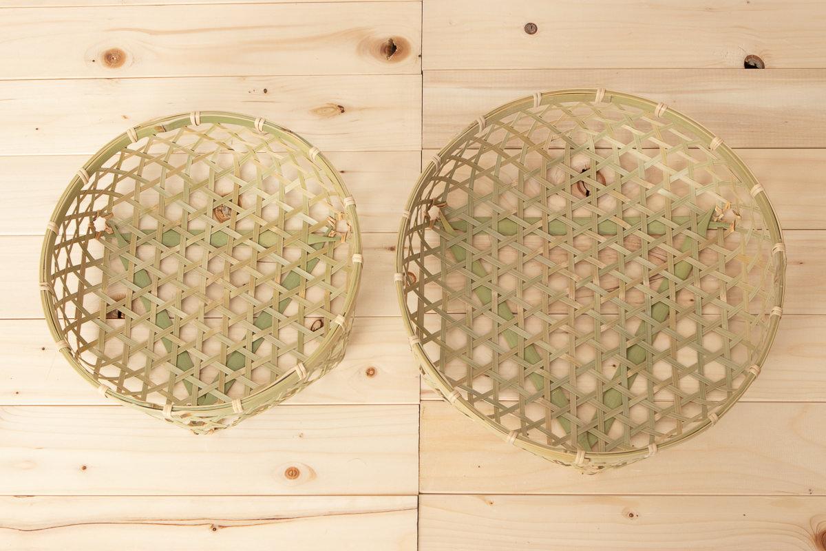 千葉県/真竹 六つ目果物かご 八寸・尺 2サイズ
