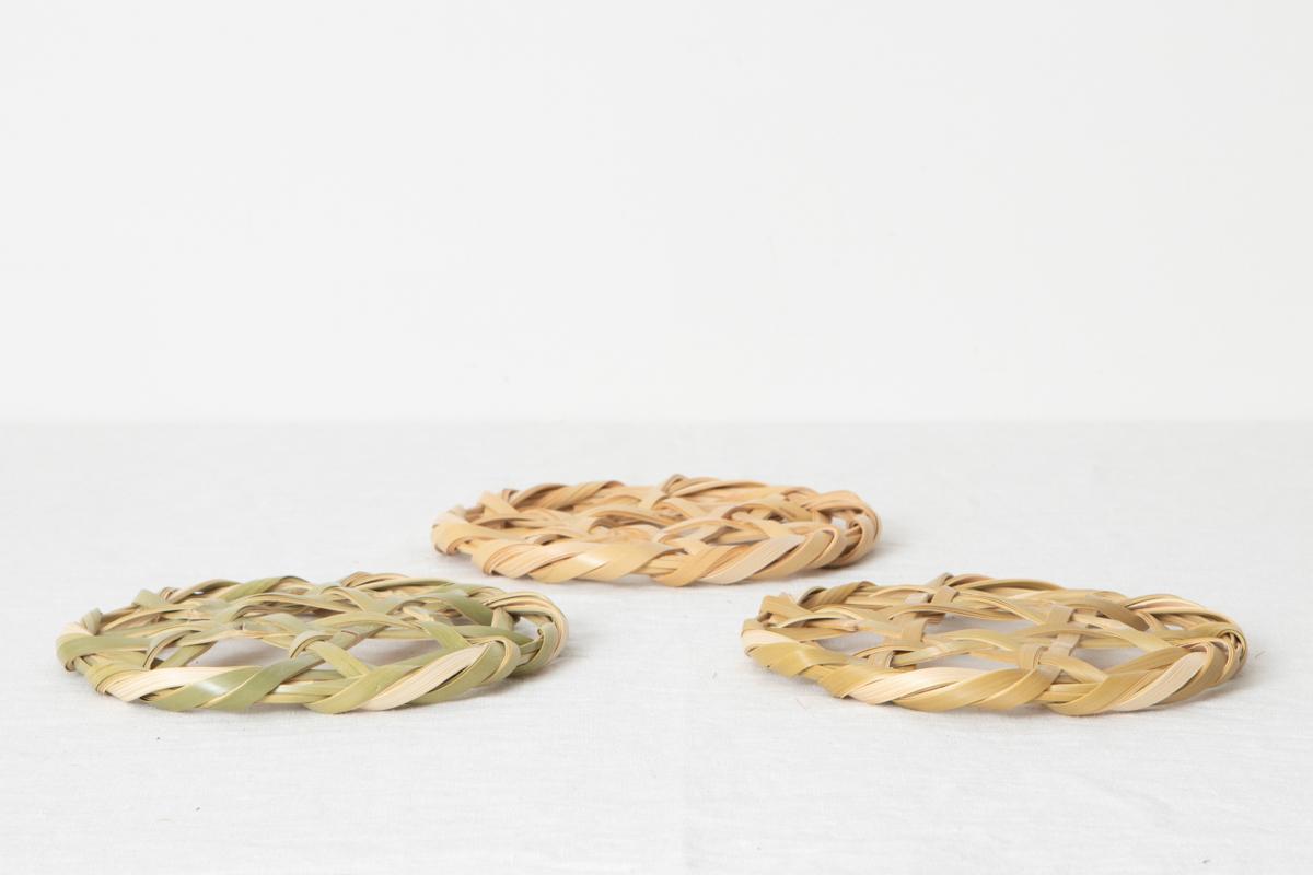千葉県 鍋敷き 18cm 白竹・青竹・青竹みがき 3種